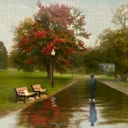 Boy at the park after the rain